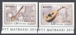 TURKEY , 2014 ,MNH,EUROPA, MUSICAL INSTRUMENTS, 2v - 2014