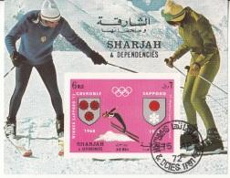 Bf. 86 Sharjah 1972 Vincitori Olimpiadi Grenoble Sapporo Sci Di Fondo Skiing Imperf. - Inverno1968: Grenoble