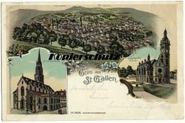 St. Gallen, Panorama, Lorenzkirche, Lingenbühl Kirche, Alte Litho Ansichtskarte 1899 - SG St. Gallen