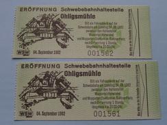 ERÖFFNUNG Schwebebahnhaltestelle OHLIGSMÜHLE 04 Sept 1982 / 2 Ticket ( Voir Photo Pour Detail )! - Chemins De Fer