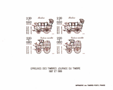 """Epreuve   2 Paires De  Timbres N° 2468 & 2525  """" JOURNEE DU TIMBRE  1987-1988 - Luxury Proofs"""
