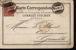 Carte Correspondance Agence Transports Internationaux Charles Fischer Genève YT 43 Helvetia Suisse Ambulant Mont Cenis - 1862-1881 Sitted Helvetia (perforates)