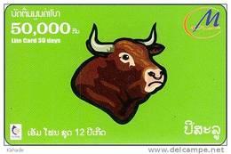 Laos  Phonecard     Zodiak Horoskop Hund Buffalo