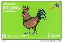 Laos  Phonecard     Zodiak Horoskop Hund Hahn
