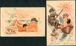 WW2 Finland 4 X Kenttapostia Military Comic Postcards - Finland