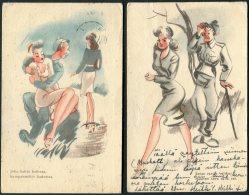 1943/4 Finland 2 X Kenttapostia Military Comic Romance Postcards - Finlande