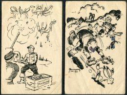 WW2 Finland 3 X Kenttapostia Military Comic Postcards - Finlande