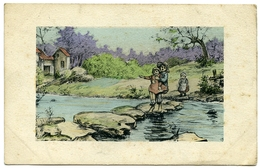 FRENCH CHILDREN CROSSING STEPPING STONES / POSTMARK - FIELD POST OFFICE 54 - 1900-1949