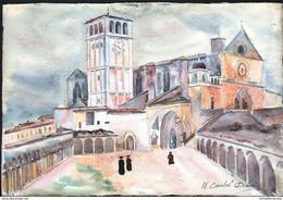 AQUARELLE 193 X 280 Mm, ARTISTE: MATHILDE CAUDEL DIDIER ( BENEZIT ), SAINT FRANCOIS D'ASSISE, 1904 - Aquarelles