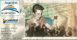 María Eva Duarte De Peron,actrice Et Femme Politique Argentine,bloc-feuillet Sur Lettre Adressée Etats-Unis - Cartas