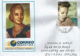 María Eva Duarte De Peron,actrice Et Femme Politique Argentine,timbre Sur Lettre Spéciale Adressée Etats-Unis - Acteurs