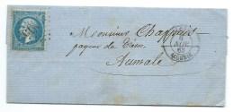 N° 22 BLEU NAPOLEON SUR LETTRE  ALGER ALGERIE POUR AUMALE / 1863 - Marcophilie (Lettres)
