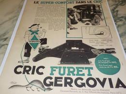 ANCIENNE PUBLICITE CRIC FURET GERGOVIA 1934 - Advertising