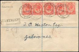 1919 SOUTH AFRICA REGISTERED ZEERUST MULTI STAMP  LOCAL RATE - Francobolli