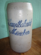 """Bierkrug """"Hauptbahnhof München"""" Geritzt Und Glasiert Um 1910 - Otros"""