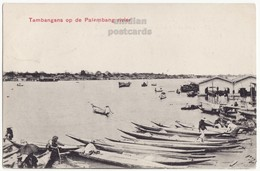INDONESIA SUMATRA, TAMBANGAN, BOATS ON PALEMBANG RIVER, NATIVES, C1910 Old Vintage Postcard - Indonesia