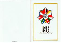 Gedenkblatt Warschauer Vertrag 1955 - 1985 Waffenbrüderschaft Ersttagsstempel Siehe Scan - DDR