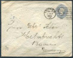 1903 GB QV 2d Stationery Cover London EC Machine Cancel - Helmbrechts, Bavaria - Briefe U. Dokumente