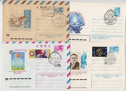 SPACE Stationery FDC 4 Cover USSR RUSSIA Rocket Sputnik Zvezdny Gorodok Korolev Planetary Apollo USA Train Week Letter - Lettres & Documents