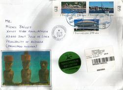 Lettre Recommandée (Moaïs) Ìle De Pâques,Territoire Chilien Du Pacifique,adressée En ANDORRE,avec Timbre à Date Arrivée - Rapa Nui (Easter Islands)