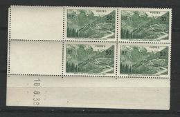 """Coins Datés YT 358 """" Col De L'Iseran """"1937 Neuf** Du 18.8.39 - Coins Datés"""