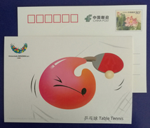 Table Tennis,CN 11 Shenzhen 2011 Summer Universiade Mascot Concave-convex Printing Advert Pre-stamped Card - Tafeltennis