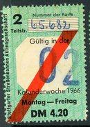 ABONO SEMANAL DE TRANVIAS DE STUTTGAR // 1966 / (A-9) - Transportation Tickets