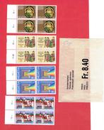 HELVETIA SUISSE 1978 LOT 4 BLOCS DE 4 TIMBRES EN SUPERBE ETAT - Covers & Documents