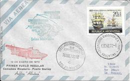 PRIMER VUELO REGULAR COMODORO RIVADAVIA PUERTO STANLEY ANFIBIO ALBATROS RARE ENVELOPPE AÑO 1972 - Polar Flights