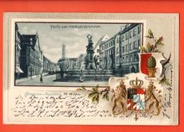 D1309  Gruss Aus Augsburg Augsbourg Litho Partie Beim Herkulesbrunnen Relief. Pionier. Gelaufen In 1900 - Augsburg