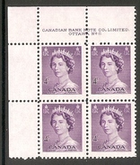 003600 Canada 1953 4c MNH Plate 6 Block UL - Num. Planches & Inscriptions Marge