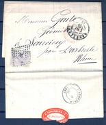 1880 , BARCELONA - RHONE , FECHADOR TIPO TRÉBOL , DE ENTRADA A FRANCIA Y TRANSITO DE L´ARBRESLE , ED. 204 - 1875-1882 Royaume: Alphonse XII