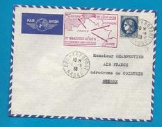1er Transport Aérien De Courrier Sans Surtaxe FRANCE SUISSE - 1938  // BRON AEROPORT - 1921-1960: Période Moderne
