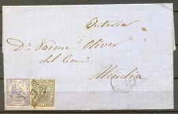 1874 , BALEARES , CARTA CIRCULADA ENTRE ANDRAITX Y ALCUDIA , ED. 145 , 141 , MAT. ROMBO , FECHADOR , LLEGADA - 1873 1. Republik