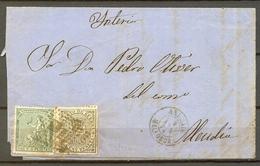 1874 , BALEARES , CARTA CIRCULADA ENTRE ANDRAITX Y ALCUDIA , ED. 133 , 141 , MAT. ROMBO , FECHADOR , LLEGADA - 1873 1. Republik