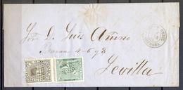 1874 , CORDOBA , ENVUELTA CIRCULADA ENTRE PUENTE GENIL Y SEVILLA , ED. 133 , 141 , MAT. ROMBO , FECHADOR - 1873 1. Republik