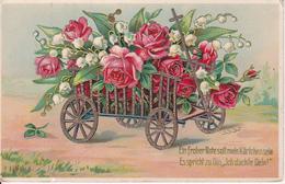 AK Grußkarte - Leiterwagen Mit Rosen Und Maiglöckchen - Golddruck - Feldpost 1918 (28464) - Blumen