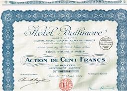 Action Ancienne - Hotel Baltimore - Titre De 1924 - 2 Scans - Tourisme
