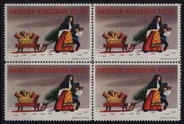 CHRISTMAS Tree Sledge Gift / USA  Hungary Exile LABEL CINDERELLA VIGNETTE - American Hungarian Relief - Christmas