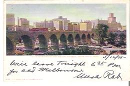 Stone Arch Bridge And Milling District, Minneapolis, Minnesota  Kingsbury, Quebec Post Mark - Minneapolis