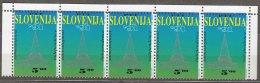 Slovenia 1991 Mi#1 Mint Never Hinged Strip Of Five - Slovénie