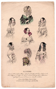Gravure De Mode Du 19e Siècle - La Mode à Paris 28 Rue Taitbout - (Chapeaux - Coiffes) - Stiche & Gravuren