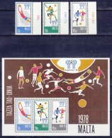 Malta 1978 Football Mi#571-573 + Block 5 Mint Never Hinged - Malta