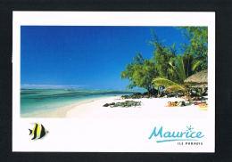 MAURICE - MAURITIUS - Ile Paradis -Plage De L'Ile Aux Cerfs- Voyagée En 2000 Avec 2 Beaux Timbres - Recto Verso - Maurice