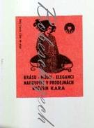 43-142 CZECHOSLOVAKIA 1971 Kara Jaromer - Beauty - Fashion - You Buy The Elegance Woman In Fur Coat - Matchbox Labels