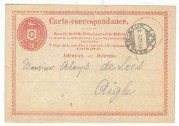 Suisse // Schweiz // Switzerland //  Entier Postaux //  Au Départ De Genève-Sion Le 14.03.1872 - Postwaardestukken