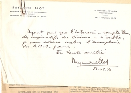 Lettre Autographe De Raymond Blot, Architecte De La Préfecture De Police De Paris, Vincennes, 1970, Avec Sa Signature - Autographes