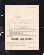 ESNEUX Louis BEDUWE  1864-1906 Ingénieur époux ZIMMERMANN HANREZ Faire-part Mortuaire - Décès
