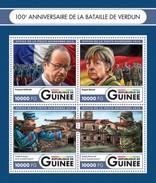 GUINEA 2016 SHEET BATTLE OF VERDUN FIRST WORLD WAR WWI PREMIERE GUERRE MONDIALE FRANÇOIS HOLLANDE ANGELA MERKEL Gu16401a - Guinea (1958-...)