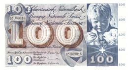 BILLET ANCIEN 100F BANQUE NATIONALE SUISSE ZURICH 1972 TBC - Suiza